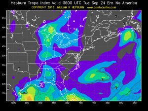Tropospheric prediction for evening of Fall 2m Sprint 2013
